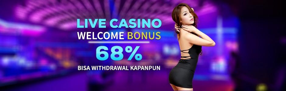 Live Casino Welcome Bonus 68%