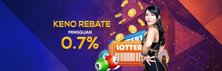Keno Rebate Mingguan 0.7%